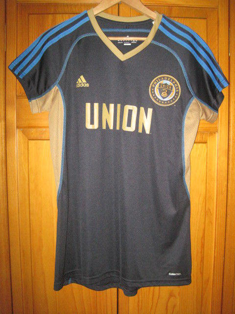 size 40 b4434 80fc7 Philadelphia Union MLS soccer jersey women's L blue NWOT NEW Adidas