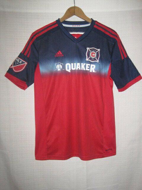 watch 0f571 26d49 Chicago Fire Adidas Soccer Jersey kids boys XL blue Quaker MLS