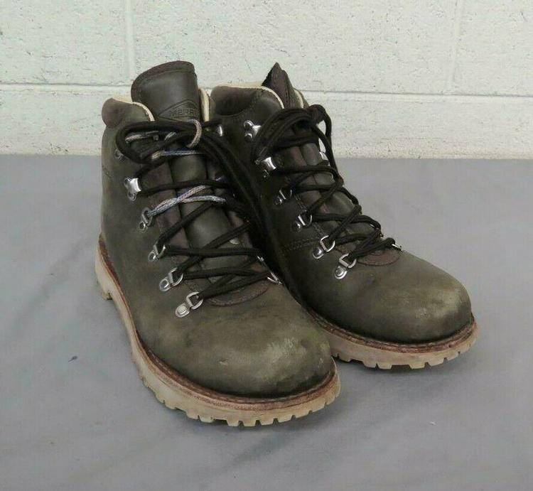 Merrell Wilderness Canyon Olive Leather Hiking Boots wVibram Soles US 9 EU 43