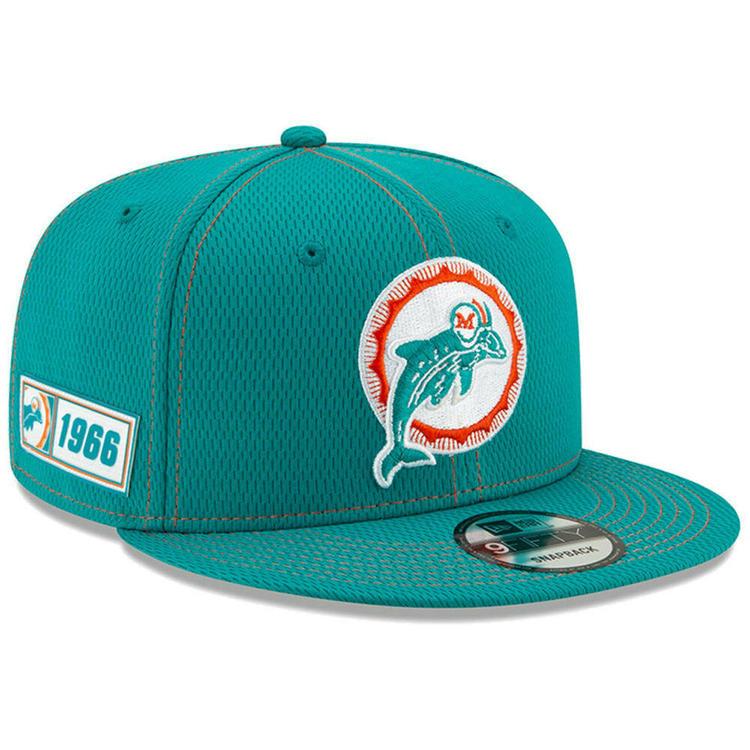 8cf34211 2019 Miami Dolphins New Era 9FIFTY NFL Road Sideline Snapback Hat Cap 950  Retro