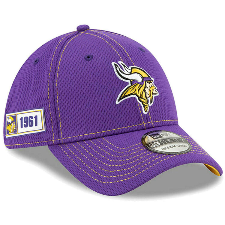 166020b7 2019 Minnesota Vikings New Era 39THIRTY NFL Sideline Road On Field Cap Flex  Hat