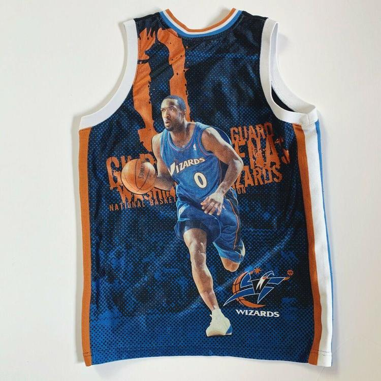 best service a1a70 30980 Majestic NBA Gilbert Arenas Washington Wizards Fanimation Jersey Youth XL  Mens S