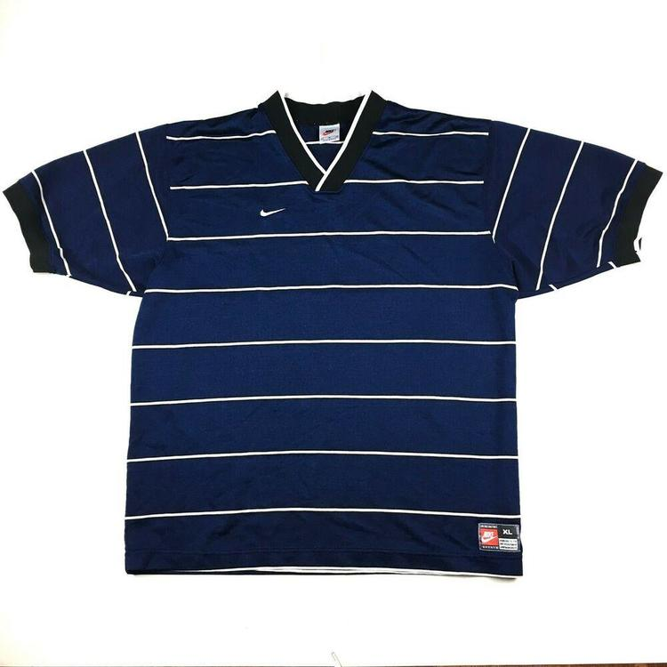 24522692386be VTG 90s Nike Striped Soccer Jersey T-Shirt Blue/White White Tag Made in USA  XL