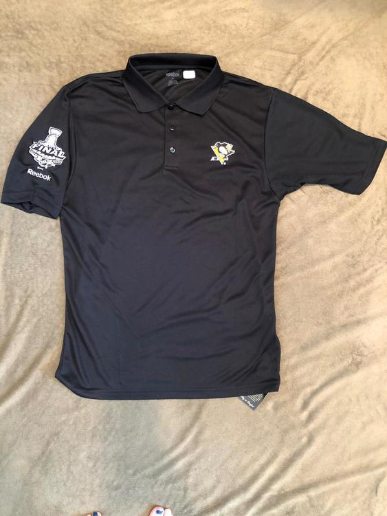 best cheap 5a924 1febe New Reebok NHL Pittsburgh Penguins Team Issue Golf Polo Stanley Cup Finals  Sm