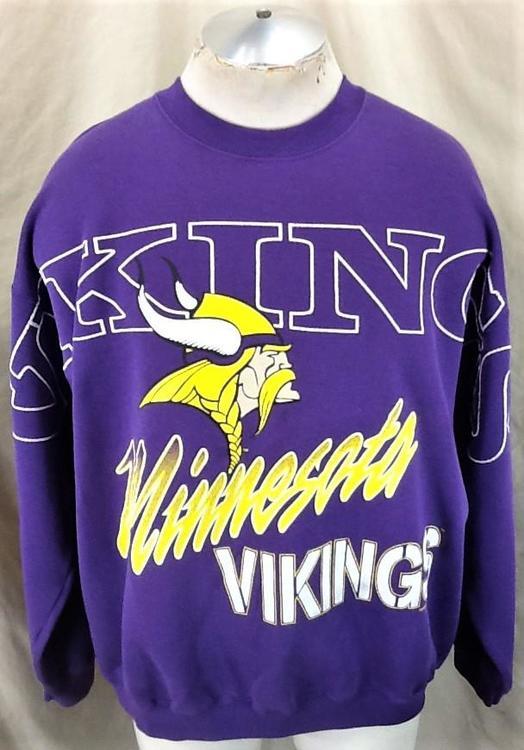 release date: dc94b 1c5a1 Vintage 1994 Minnesota Vikings Football Club (2XL) Retro NFL Crew Neck  Sweatshirt Purple