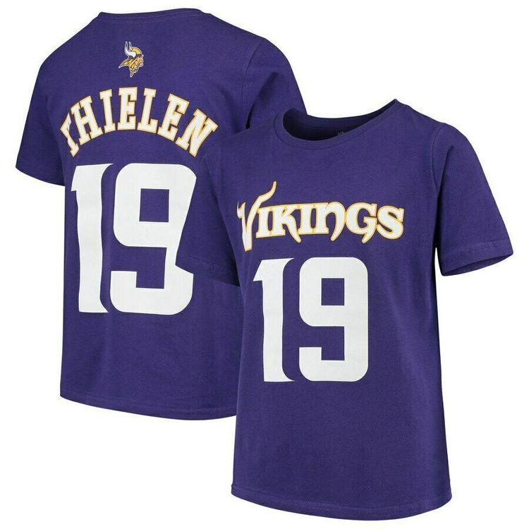 best service a639b 53fd8 Adam Thielen Minnesota Vikings #19 NFL Purple Boys T-Shirt - Youth Jersey