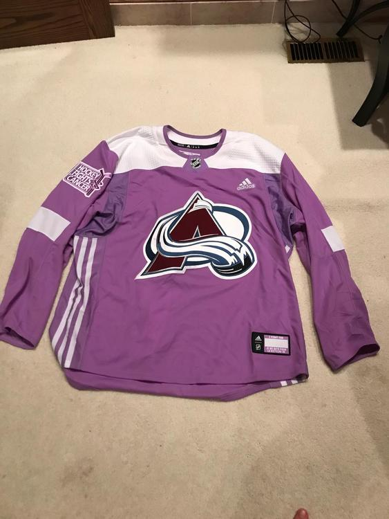 quality design f69b0 a2878 New Adidas Colorado Avalanche Team Issued Hockey Fights Cancer Practice  Jersey 58