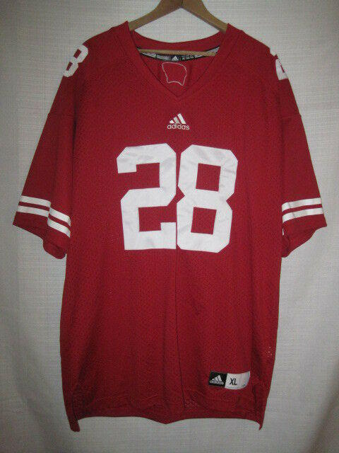 Wisconsin Badgers Authentic Adidas Football Jersey Men S Xl Red 28 Sewn