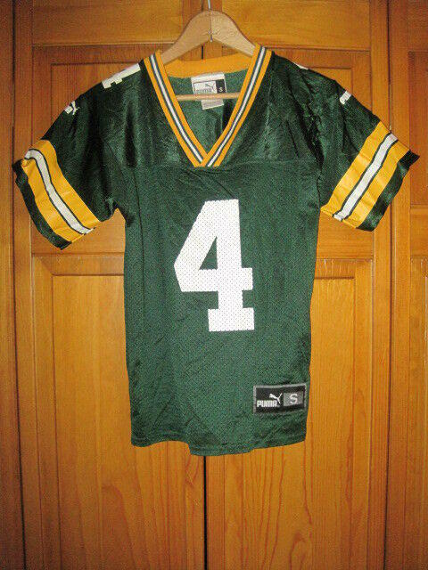 release date 11511 a2d61 Vintage Green Bay Packers Brett Favre football jersey kids boys S Puma NFL