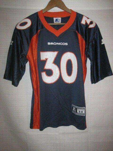 new product fc3cf e880c Vintage Denver Broncos Terrell Davis Starter football jersey boys kids S 8  blue