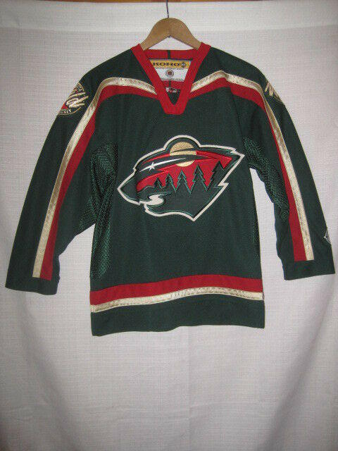 outlet store b1fd3 66745 Minnesota Wild Hockey Jersey kids boys L/XL green Koho NHL