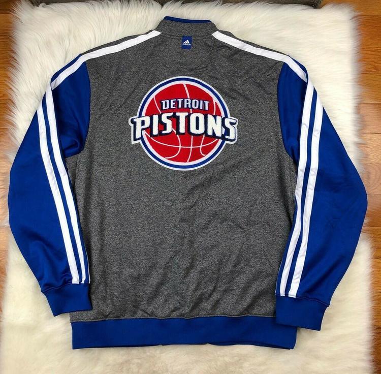 size 40 55ccd 64506 NBA Detroit Pistons Snap Big Logo Up Embroidered Shooting Jacket Gray Men  2XLT