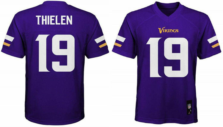 sale retailer d6cb0 f3fa0 Adam Thielen Minnesota Vikings #19 NFL Home Purple Boys Jersey Outerstuff  Youth