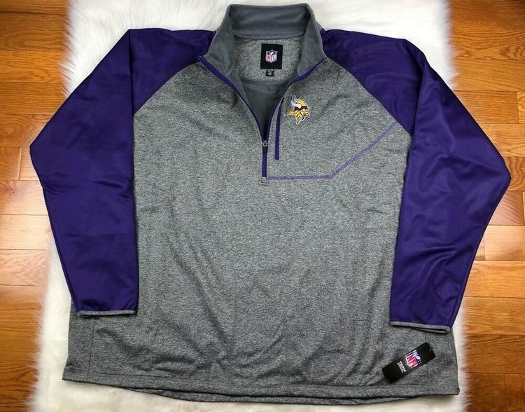 new arrivals ea85b cd86a NFL Minnesota Vikings Soft Shell 1/4 Zip Pullover Track Jacket G-III Men's  6XL