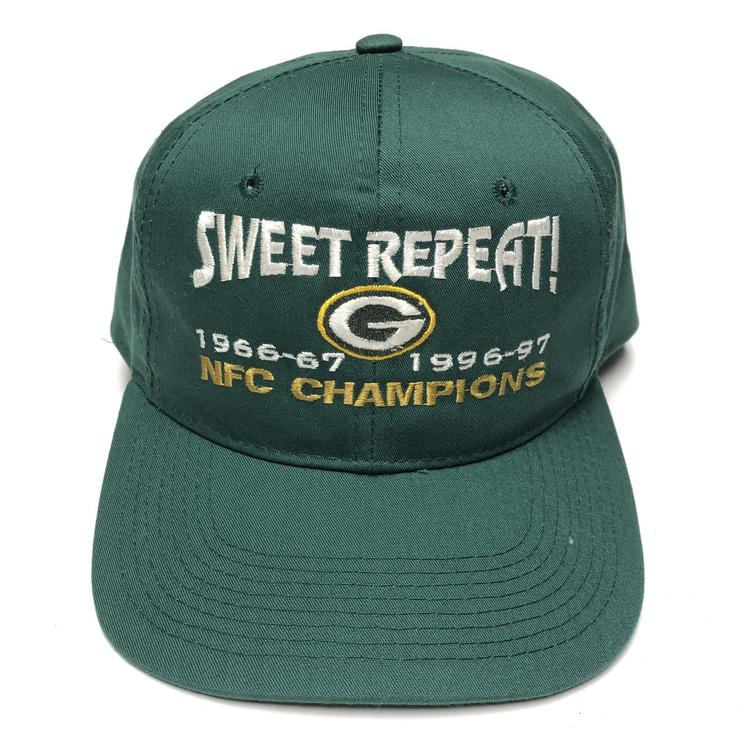 49084381 Vintage Green Bay Packers Snapback Hat NFC Champions Repeat