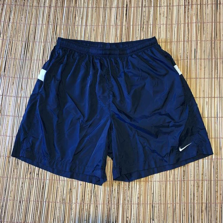 Mens Vintage 90s Nike Blue Embroidered Logo Spell Out Shorts Swim Trunks Swoosh