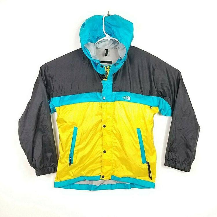 2d1690c5a The North Face Vintage 80s 1990s Color Block Windbreaker Jacket Mens Yellow  Blue