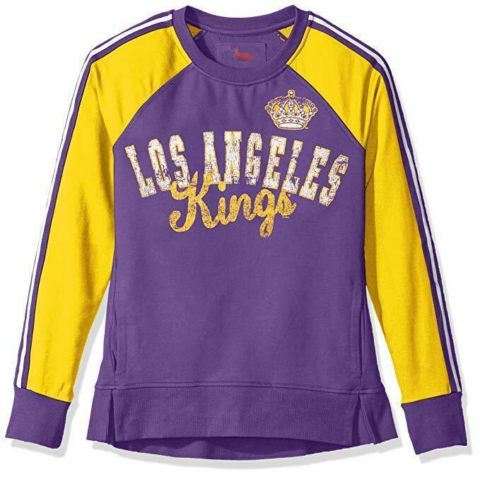 sale retailer acf0e a6cbf NHL Los Angeles Kings Soft Poly Jersey Style Crew Sweater, Purple Gold  Women 2XL
