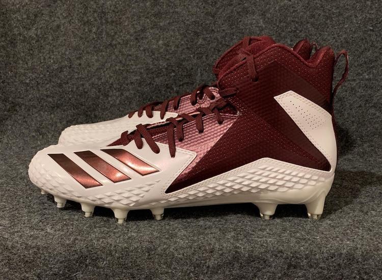 new styles 3bb46 3dcbb Men's Adidas Freak X Carbon Mid Football Cleats Maroon/White DB0570 Size 10