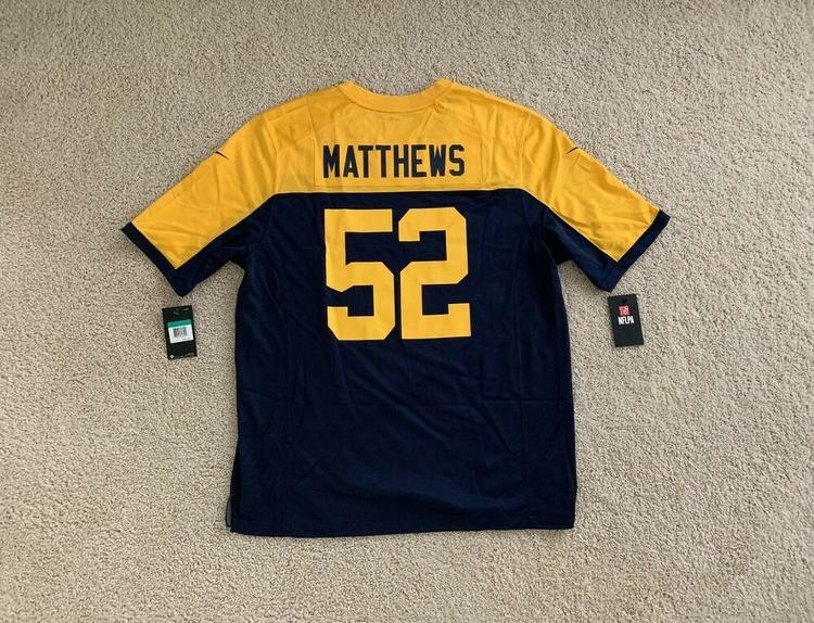 7bbb2ce4 NWT Nike Green Bay Packers Clay Matthews Jersey Yellow/Navy Men's Size XL  New!