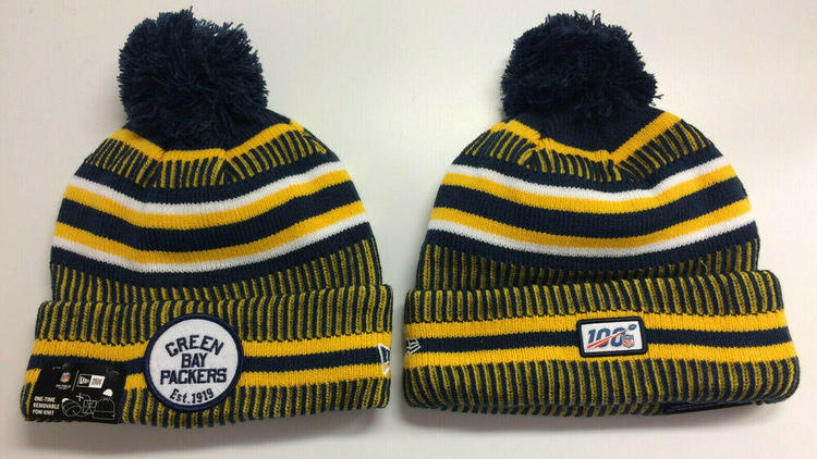 4443ff2a 2019 Green Bay Packers New Era Knit Hat On Field Sideline Beanie Stocking  Cap