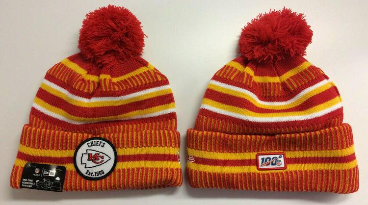 ce9152e0 2019 Kansas City Chiefs New Era Knit Hat On Field Sideline Beanie Stocking  Cap