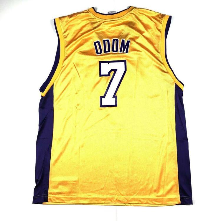 hot sale online 56b9a f8d05 Lamar Odom Los Angeles Lakers Basketball Jersey #7 Reebok NBA Gold Sz Large