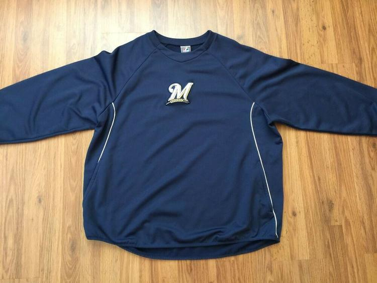 finest selection 0302c b046f Milwaukee Brewers MLB Majestic Therma Base Baseball 2XL XXL Pullover  Sweatshirt!
