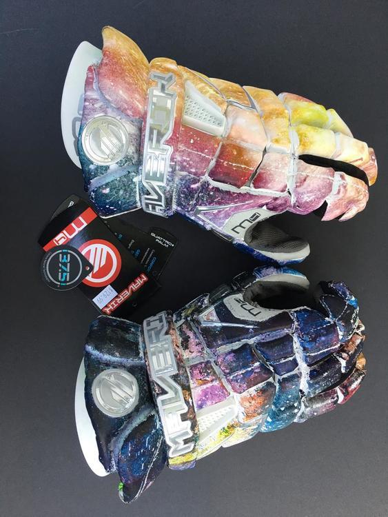 New Maverik Lacrosse Gloves - Custom Galaxy Hydro Dip