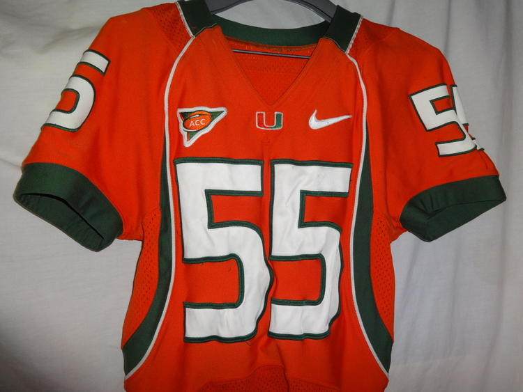 best service b32af 7f602 Miami Hurricanes GLENN COOK Game Used Worn NCAA Football Jersey