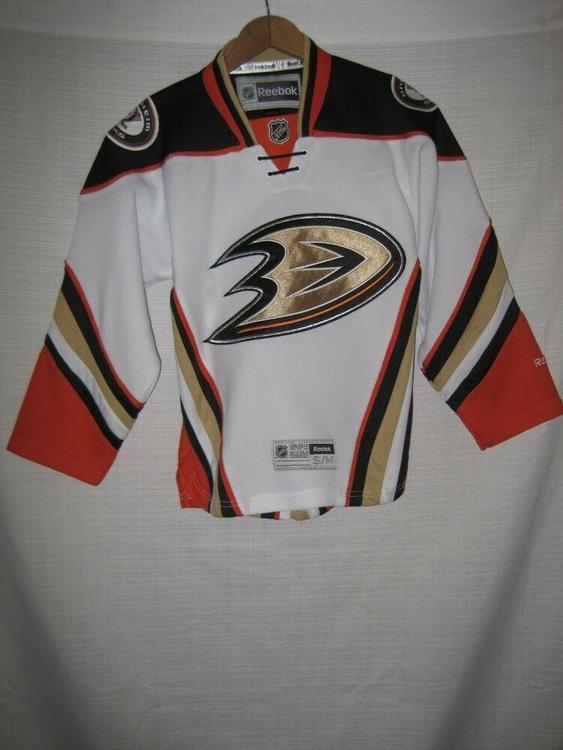 official photos 4c9bd bc56c Anaheim Ducks Reebok Hockey Jersey Kids Boys S/M White NHL