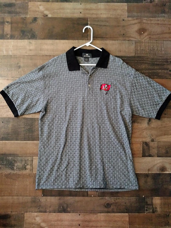 save off bf3b8 9f05a NFL Football TAMPA BAY BUCCANEERS Black Checker Pattern Embroidered Team  Polo Shirt