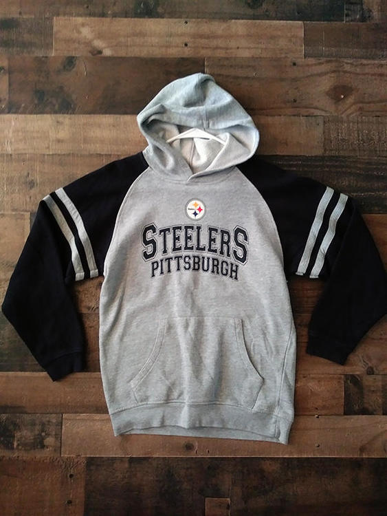 promo code 602e5 2ff74 NFL Football PITTSBURGH STEELERS Grey Black Striped Sleeve Team Hoodie  Sweatshirt