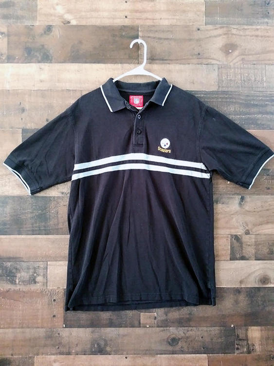 competitive price 4e15e fde5b NFL Football PITTSBURGH STEELERS Black Grey Striped Embroidered Team Polo  Shirt