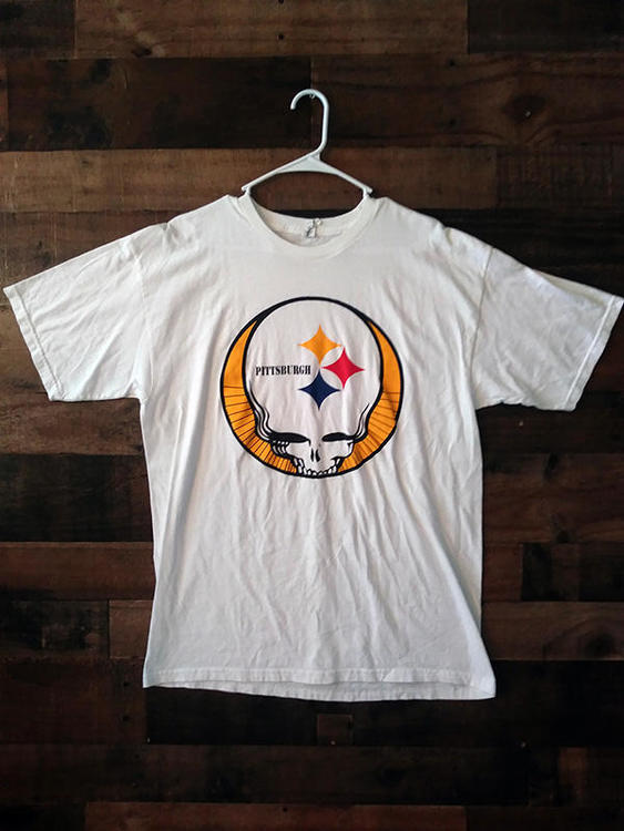 reputable site e2864 055cf NFL Football PITTSBURGH STEELERS White Grateful Dead Steal Your Face Style  Team Shirt