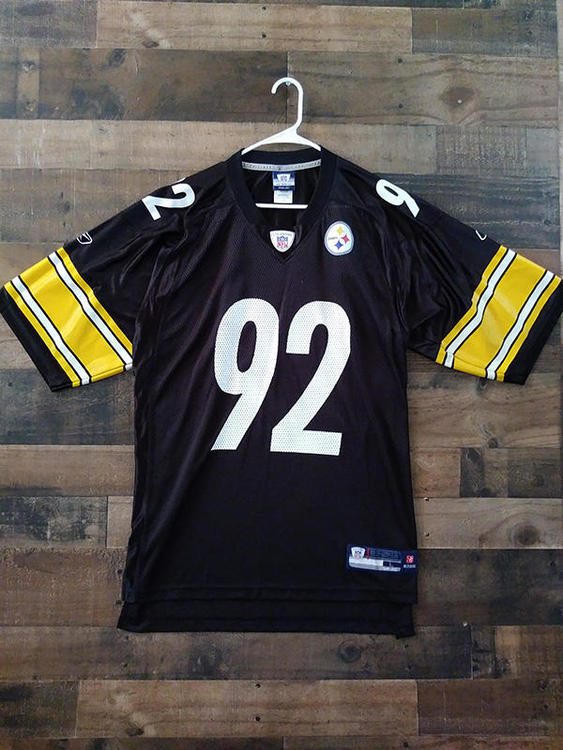 new concept dafdc 9212f Reebok NFL Football PITTSBURGH STEELERS Black White Gold #92 James Harrison  Player Jersey