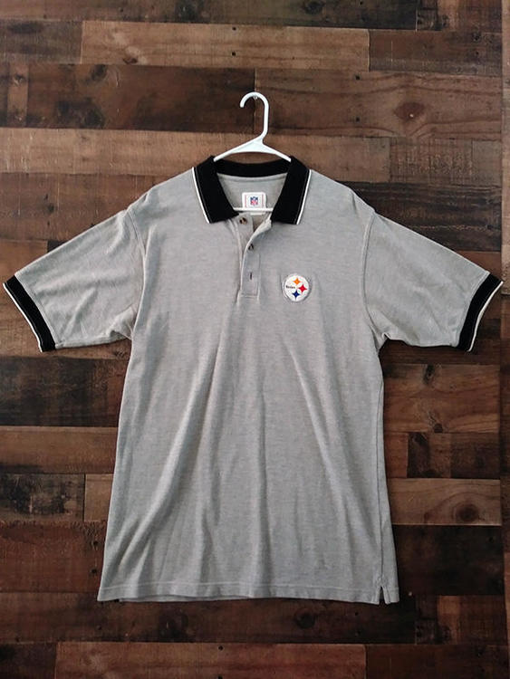 official photos efe76 0c093 NFL Football PITTSBURGH STEELERS Grey Black Embroidered Button Team Polo  Shirt
