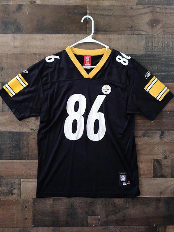 half off 70fa8 c3968 Reebok NFL Football PITTSBURGH STEELERS Black White Gold #86 Hines Ward  Player Jersey (YXL)