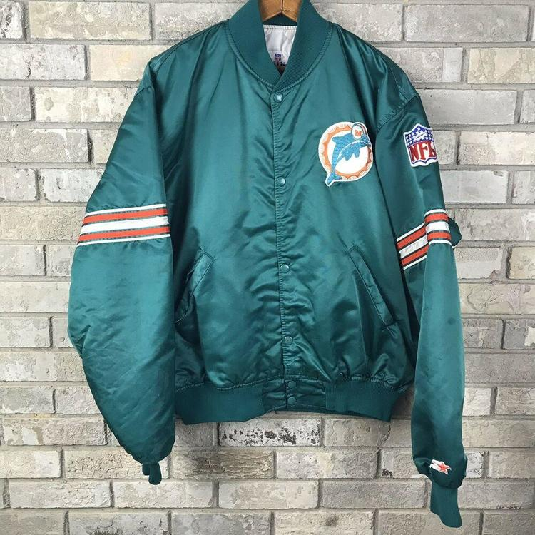 san francisco ad402 5661a Vintage Miami Dolphins Mens XL Starter Satin Bomber Jacket NFL USA Made  Football