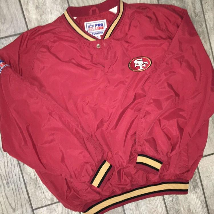 online store 4fe35 57a0a Vintage Starter NFL Pro Line SF 49ers XL Pullover Windbreaker Jacket Red  Nylon