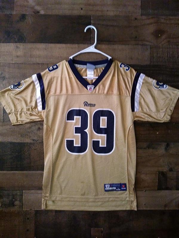 Defunct Reebok Onfield NFL Football ST LOUIS RAMS Gold Blue #39 ...