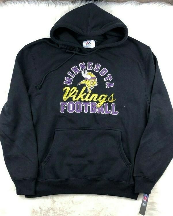 buy online 9be03 2e89d Minnesota Vikings Majestic Pullover Hoodie Sweatshirt Mens Size L NWT Black  NFL