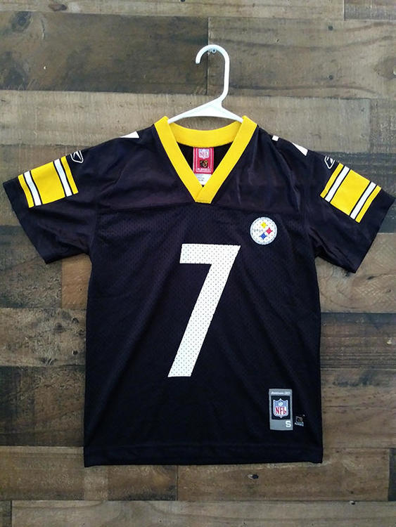 100% authentic 20d75 1ae42 Reebok NFL Football PITTSBURGH STEELERS Black Gold #7 Ben Roethlisberger  Player Jersey (YS)