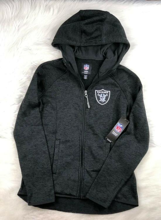 cheap for discount 601b7 48ec9 NFL Oakland Raiders Embroidered Soft Poly Full Zip Hoodie, Black, Women's  2XL