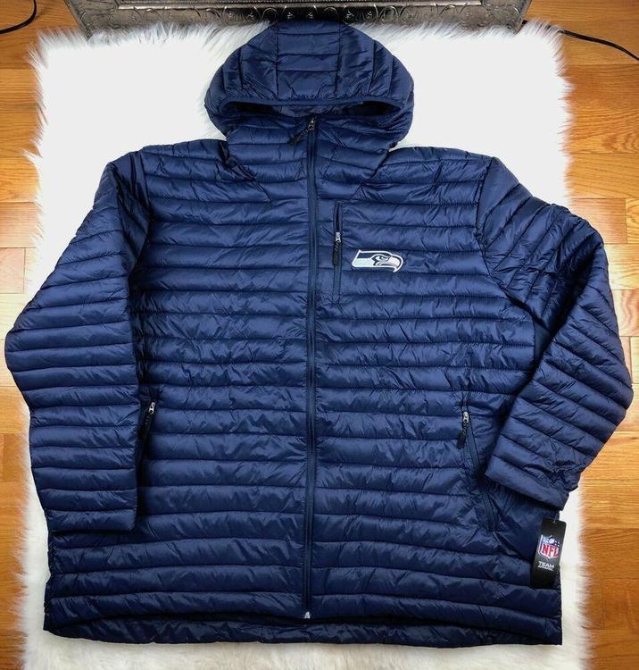 uk availability 08b7c cd3b3 NFL Seattle Seahawks Full Zip Hooded Puffer Jacket Blue G-III Big & Tall  Men 5XL