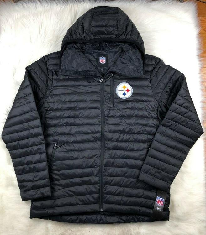 super popular d1475 b0b4d Pittsburgh Steelers NFL Full Zip Hooded Winter Puffer Jacket Black, G-III,  Men L