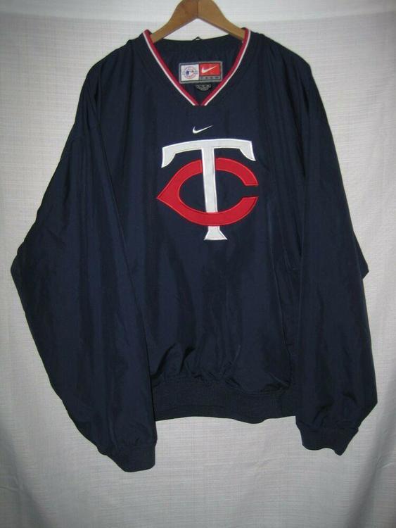 big sale 30931 572d2 Minnesota Twins Baseball Nike Pullover Windbreaker Jacket XL Blue