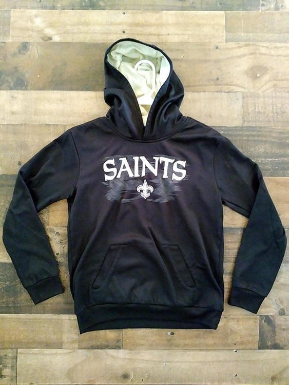 super popular 37337 c2bd1 NFL Football NEW ORLEANS SAINTS Black Gold Embroidered Polyester Hoodie  Pullover Sweatshirt