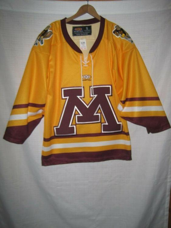 buy popular eb4f9 906dc Minnesota Golden Gophers Hockey Jersey Men's S Easton Gold