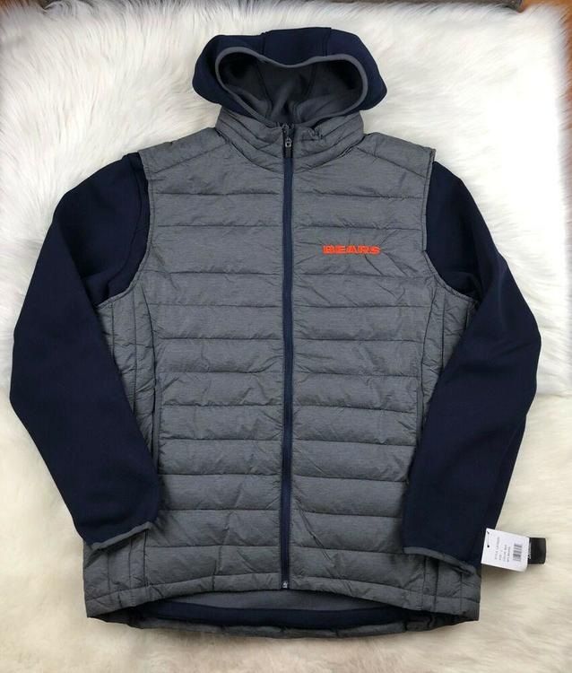 info for 5766f 760e2 Chicago Bears 3 in 1 Hoodie Jacket + Puffer Vest Gray + Blue G-III NFL L